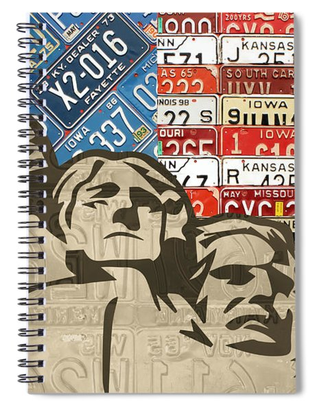 Mount Rushmore Monument Vintage Recycled License Plate Art Spiral Notebook by Design Turnpike