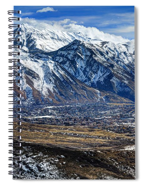 Mt. Timpanogos In Winter From Utah Valley Spiral Notebook