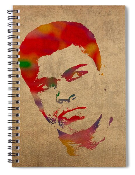 Muhammad Ali Watercolor Portrait On Worn Distressed Canvas Spiral Notebook