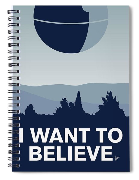 My I Want To Believe Minimal Poster-deathstar Spiral Notebook