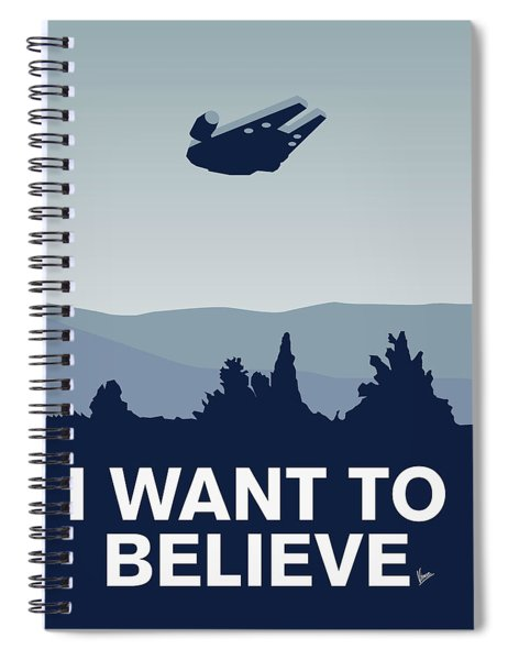 My I Want To Believe Minimal Poster-millennium Falcon Spiral Notebook