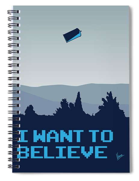 My I Want To Believe Minimal Poster- Tardis Spiral Notebook