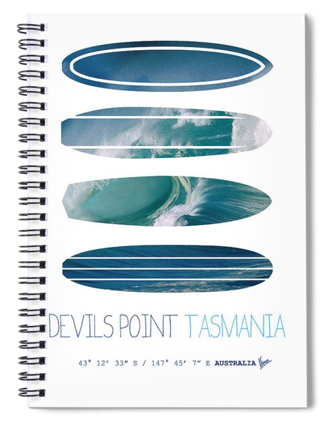 My Surfspots Poster-5-devils-point-tasmania Spiral Notebook by Chungkong Art