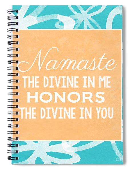 Namaste Watercolor Flowers- Blue Spiral Notebook