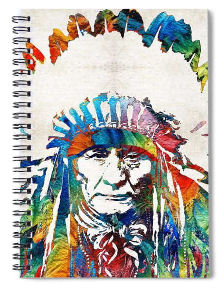 Native American Art - Chief - By Sharon Cummings Spiral Notebook