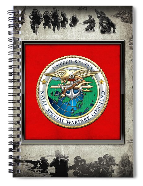 Naval Special Warfare Command - N S W C - Emblem  Over Navy Seals Collage Spiral Notebook