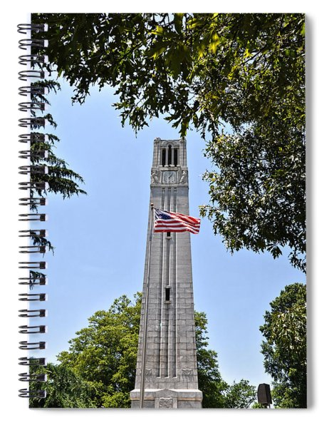 Nc State Memorial Bell Tower And Us Flag Spiral Notebook