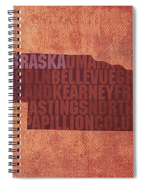 Nebraska Word Art State Map On Canvas Spiral Notebook by Design Turnpike