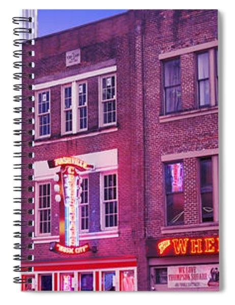 Neon Signs On Buildings, Nashville Spiral Notebook