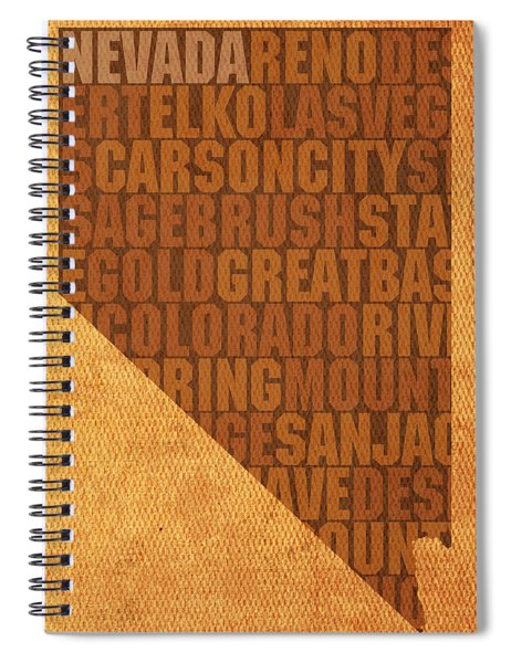 Nevada Word Art State Map On Canvas Spiral Notebook by Design Turnpike