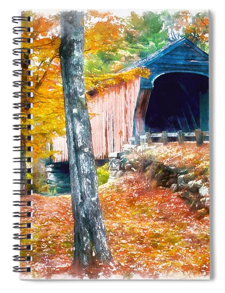 New England Covered Bridge Watercolor 2 Spiral Notebook