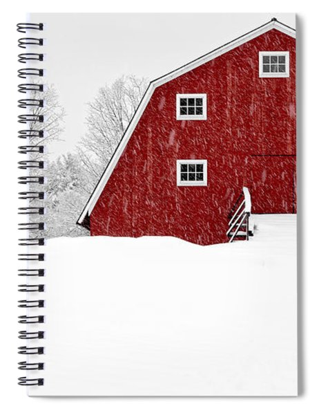 New England Red Barn In Winter Snow Storm Spiral Notebook