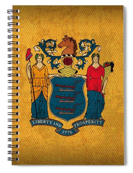 New Jersey State Flag Art On Worn Canvas Spiral Notebook