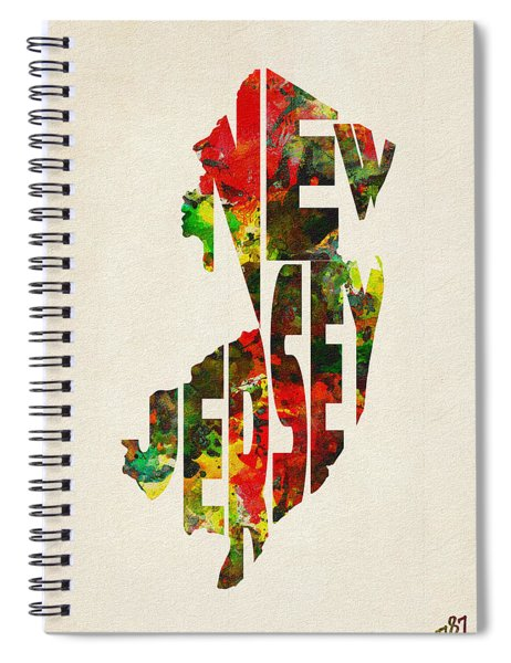 New Jersey Typographic Watercolor Map Spiral Notebook