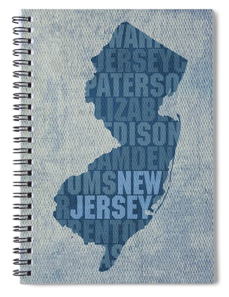 New Jersey Word Art State Map On Canvas Spiral Notebook by Design Turnpike