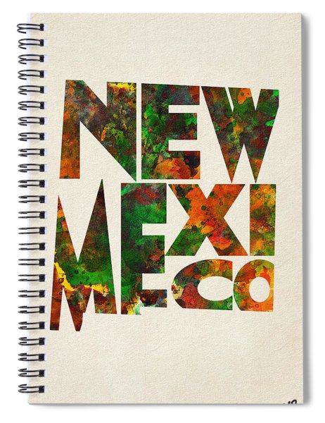 New Mexico Typographic Watercolor Map Spiral Notebook