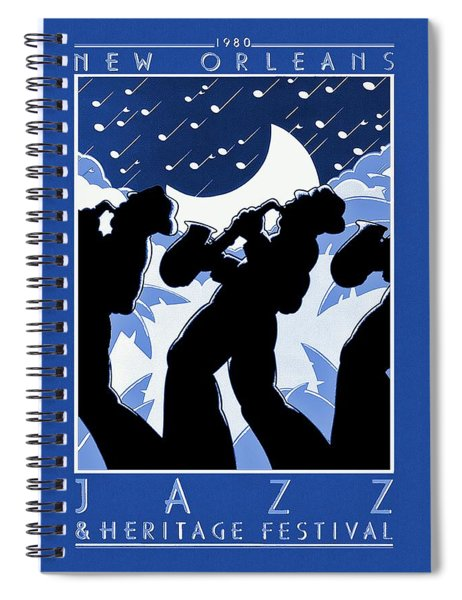 Spiral Notebook featuring the painting New Orleans Vintage Jazz And Heritage Festival 1980 by Movie Poster Prints
