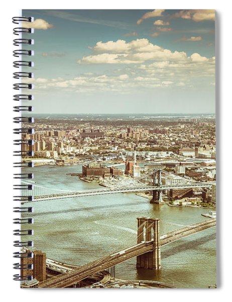 New York City - Brooklyn Bridge And Manhattan Bridge From Above Spiral Notebook