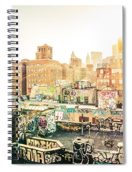 New York City - Graffiti Rooftops Of Chinatown At Sunset Spiral Notebook