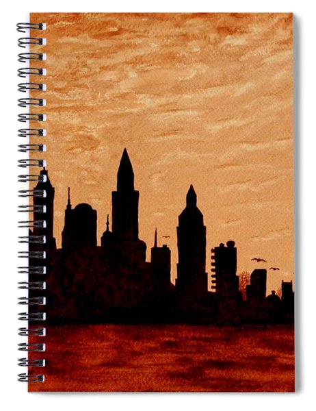 New York City Sunset Silhouette Spiral Notebook