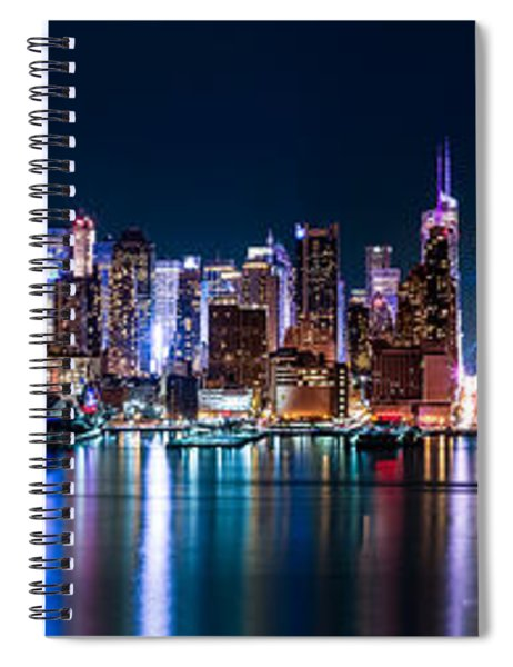 New York Panorama By Night Spiral Notebook