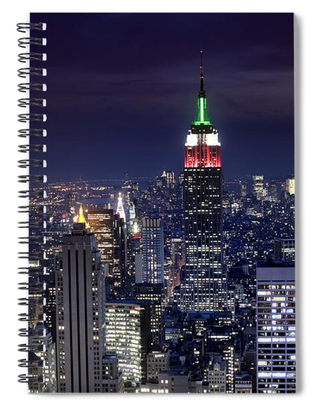 New York Skyline Night Color Spiral Notebook
