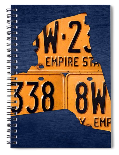 New York State License Plate Map Spiral Notebook