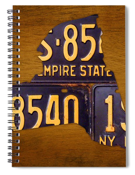 New York State License Plate Map - Empire State Orange Edition Spiral Notebook by Design Turnpike