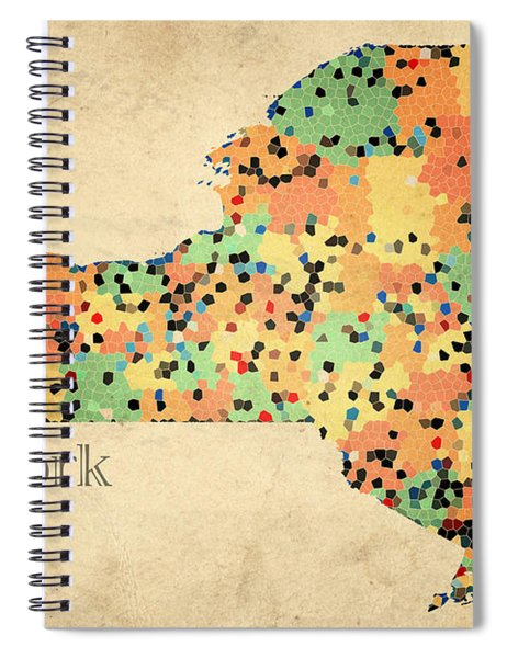 New York State Map Crystalized Counties On Worn Canvas By Design Turnpike Spiral Notebook