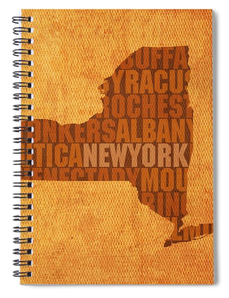 New York Word Art State Map On Canvas Spiral Notebook by Design Turnpike
