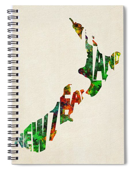 New Zealand Typographic Watercolor Map Spiral Notebook