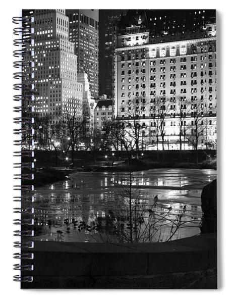 Night Central Park Lake H Spiral Notebook