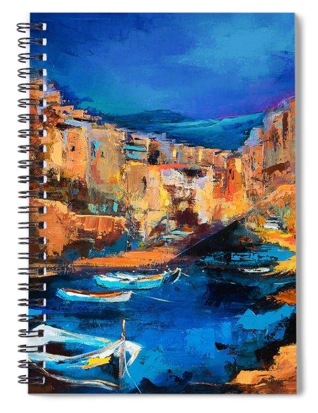 Night Colors Over Riomaggiore - Cinque Terre Spiral Notebook
