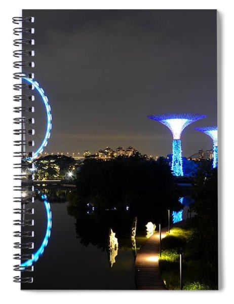 Night Shot Of Singapore Flyer Gardens By The Bay And Water Reflections Spiral Notebook