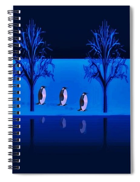 Night Walk Of The Penguins Spiral Notebook
