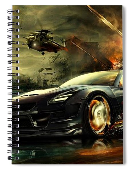 Spiral Notebook featuring the photograph Nissan G T R by Movie Poster Prints