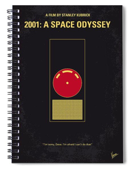 No003 My 2001 A Space Odyssey 2000 Minimal Movie Poster Spiral Notebook