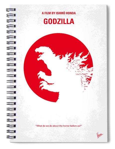 No029-2 My Godzilla 1954 Minimal Movie Poster.jpg Spiral Notebook