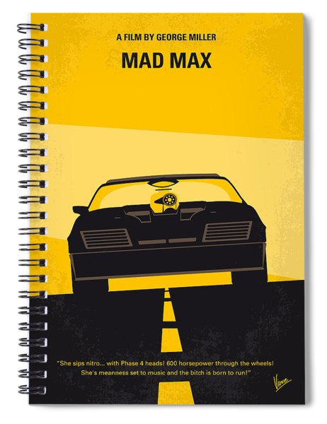 No051 My Mad Max Minimal Movie Poster Spiral Notebook