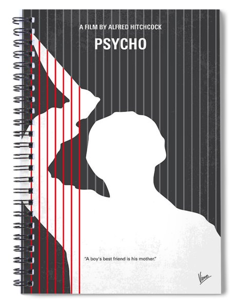 No185 My Psycho Minimal Movie Poster Spiral Notebook