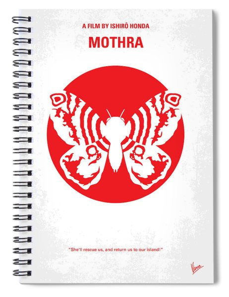 No391 My Mothra Minimal Movie Poster Spiral Notebook