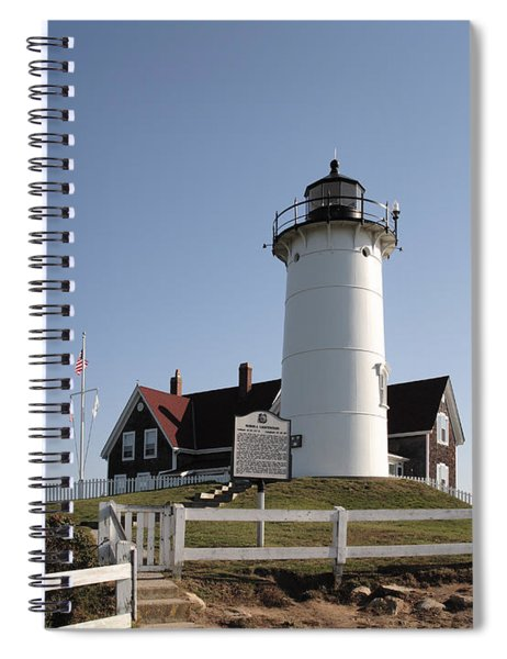 Nobska Lighthouse On Cape Cod At Woods Hole Massachusetts Spiral Notebook
