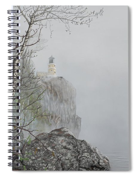 North Shore Lighthouse In The Fog Spiral Notebook