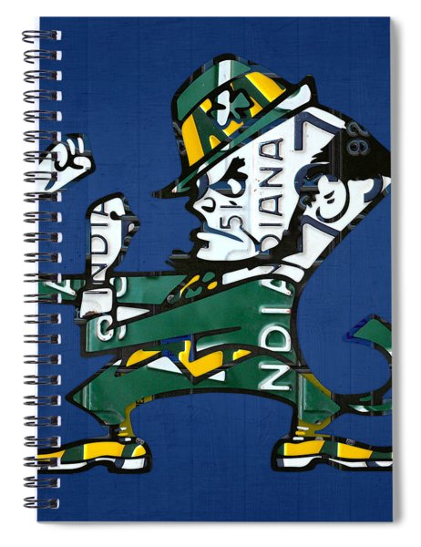 Notre Dame Fighting Irish Leprechaun Vintage Indiana License Plate Art  Spiral Notebook by Design Turnpike