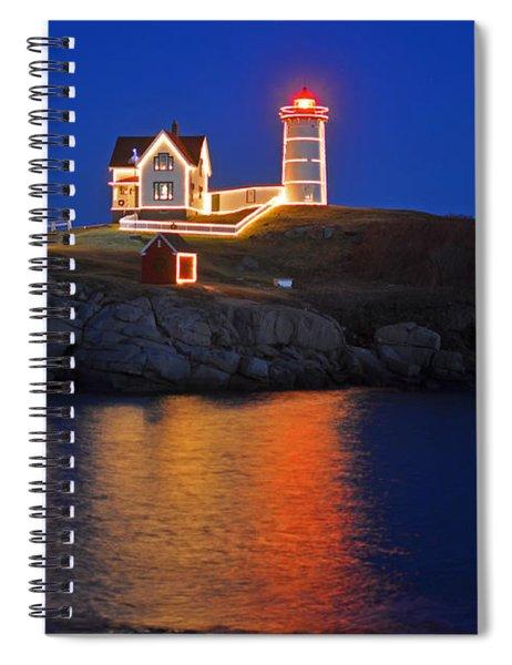 Nubble Light In York Me Cape Neddick Christmas Blue Sky Spiral Notebook