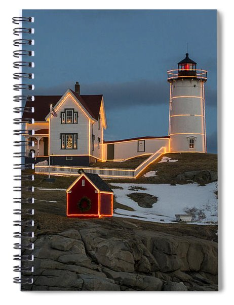 Nubble Lighthouse At Christmas Spiral Notebook