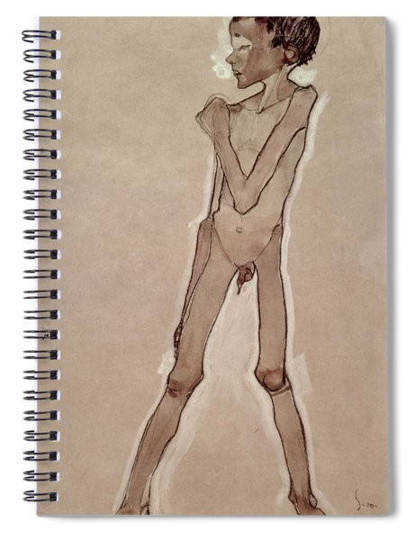 Nude Boy Standing Drawing Spiral Notebook