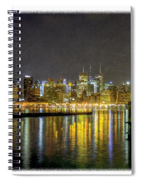 Nyc At Night Faux Oil Spiral Notebook