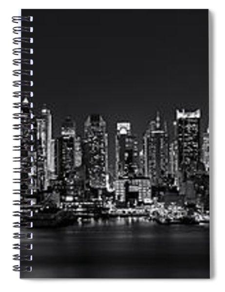 Nyc Skyline Full Moon Panorama Bw Spiral Notebook