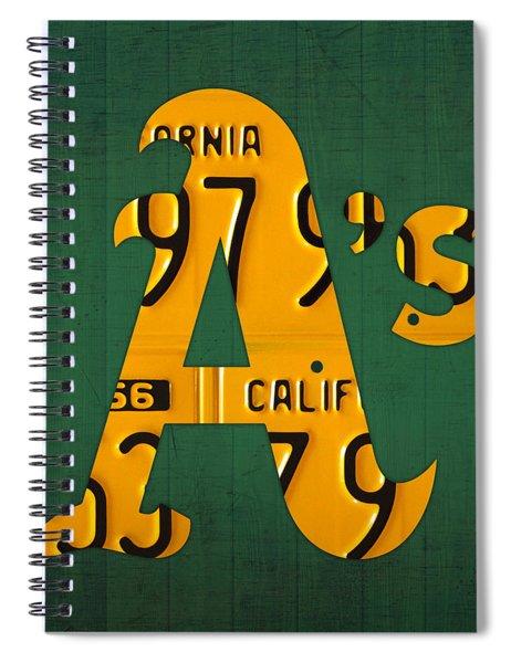 Oakland Athletics Vintage Baseball Logo License Plate Art Spiral Notebook